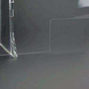 Mampara de metacrilato para cumplir las medidas de seguridad COVID-19, detalle ventanilla